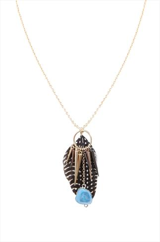 Feather And Spike Pendant Necklace