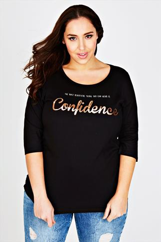 "Black ""Wear Confidence"" Print Top With 3/4 Length Sleeves"