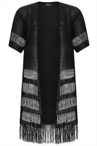 Black Knitted Longline Cardigan With Ladder Stitch And Fringing