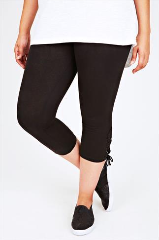 Black Cotton Elastane Cropped Lace Up Leggings
