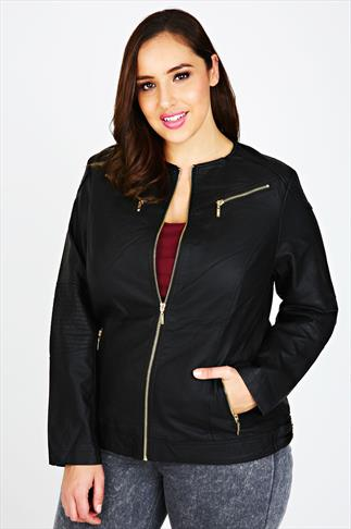 Black PU Biker Jacket With Gold Details