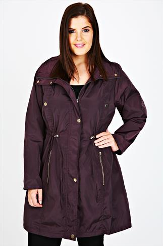 Purple Lightweight Parka Jacket With Hood And Gold Popper Fastening