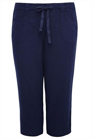 Navy Linen Mix Pull-On Cropped Trousers With Waist Tie