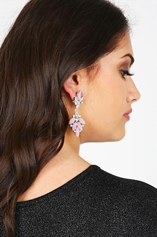 Pastel Pink & Silver Crystal Drop Earrings