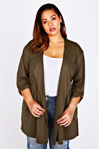 Khaki Longline Waterfall Jersey Jacket With Waist Tie
