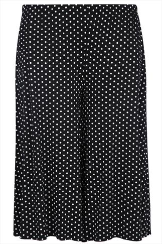 Black And White Polka Dot Print Jersey Culottes