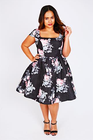 CHI CHI LONDON Black & Pink Vintage Rose Prom Dress