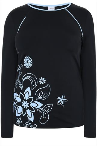 Black Long Sleeve Swim Top With Floral Print