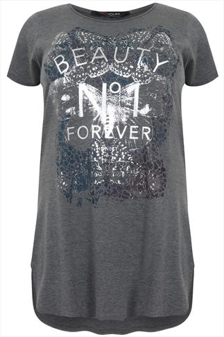 "Grey Short Sleeve  ""Beauty No 1 Forever""  Print Top"