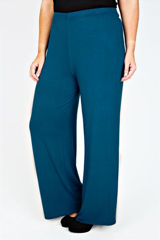 Teal Jersey Palazzo Trousers