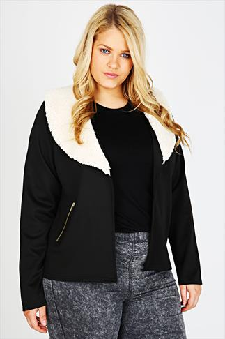 Black Borg Collar Zip Pocket Jersey Jacket