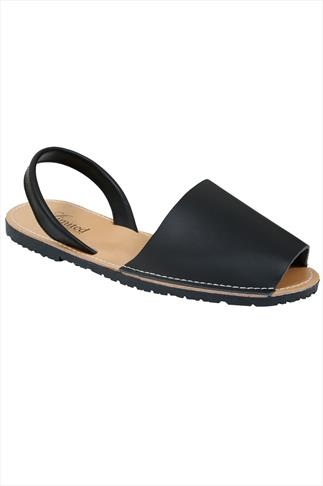 Real Leather Black Wide Fit Peep Toe Sandals