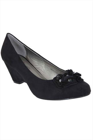 Black Suedette Wedge Shoe With Flower Trim In EEE Fit