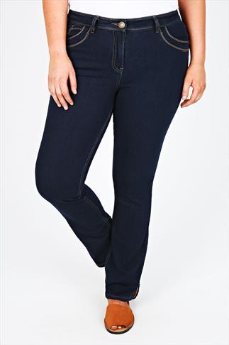 Indigo Straight Leg Jeans With Stitch Detail - PETITE