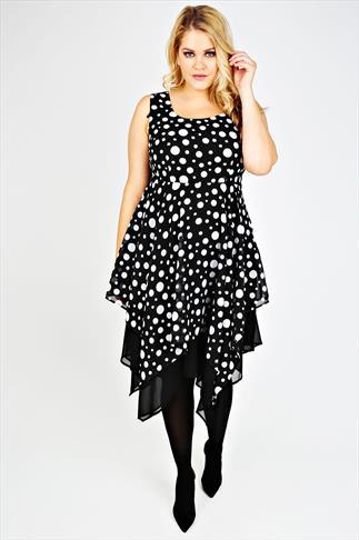 Black And White Polka Dot Print Chiffon Hanky Hem Dress