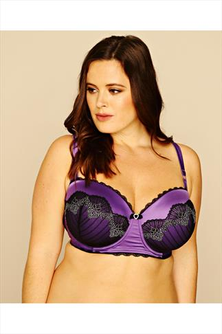Black & Purple Lace Underwired Balconette Bra