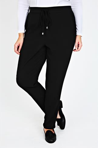 Black Crepe Trousers With Draw String Waist