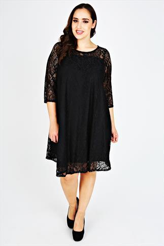 Black Lace Sleeved Swing Dress