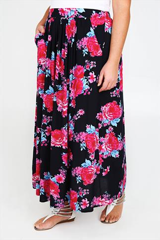 Navy & Pink Floral Print Maxi Skirt With Elasticated Waistband