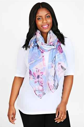 Sky Blue and Pink Blossom Print Scarf