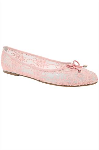 Light Pink Floral Mesh Ballerina Pump With Bow Detail In Wide Fit