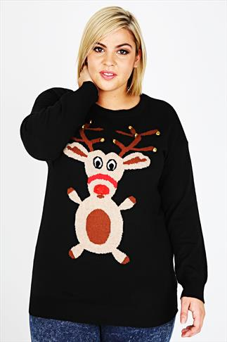 Black Rudolph Christmas Jumper With Bell Detail