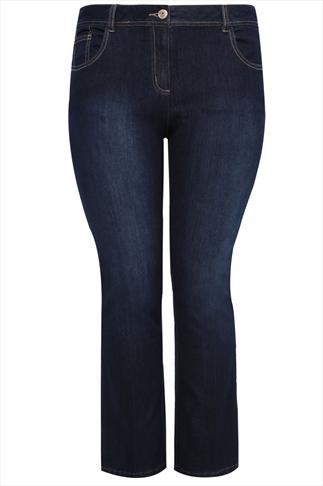 "30"" Indigo Blue Bootcut Jeans With Pleat Leg"