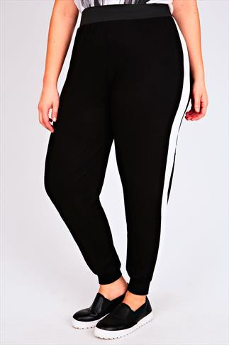 Black Cuffed Harem Joggers With Contrasting White Side Stripe