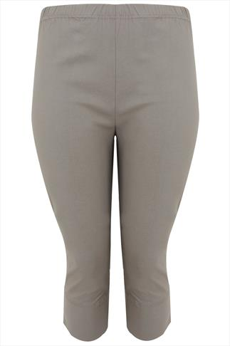 Khaki Pull On Stretch Bengalin Cropped Trousers