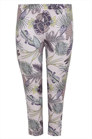 Pale Pink Palm Print Scuba Pull On Trousers