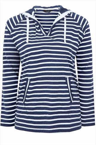 Navy And White Stripe Hooded Top With Two open Pockets