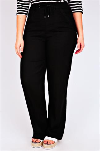 """Black Linen Mix Full Length Trousers With Four Pockets 28"""""""