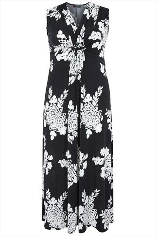 Black & White Printed Ruched Front Maxi Dress