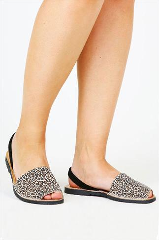 Real Leather Tan Leopard Print Wide Fit Peep Toe Sandals