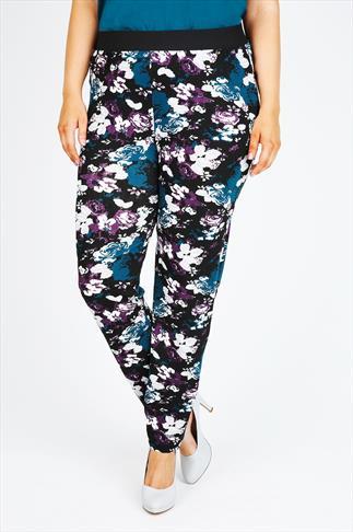 Black, Blue & Purple Rose Print Jersey Harem Trousers