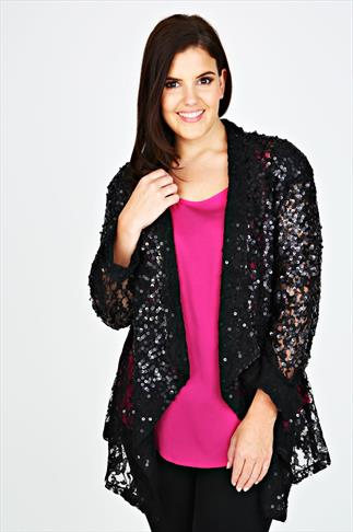 Black Lace And Sequin Waterfall Jacket