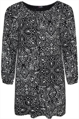Black And Ecru Paisley Print Long Sleeved Gypsy Style Tunic