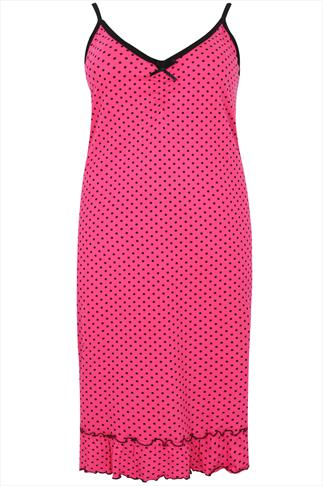 Pink & Black Polka Dot Print Chemise With Black Trim & Bow