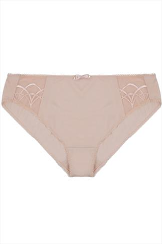 ELOMI Nude Silky Briefs With Embroidered Detail