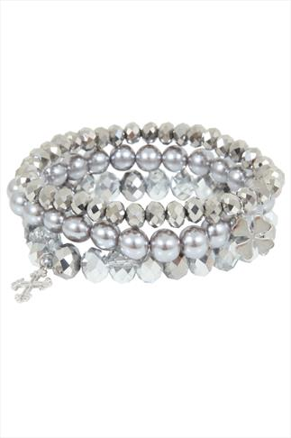 Silver Assorted Bead Charm Stretch Bracelet Pack