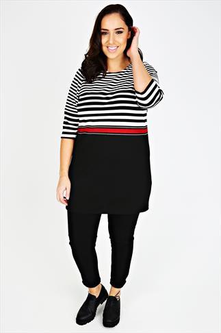 Black, White & Red Graduated Stripe Tunic Dress