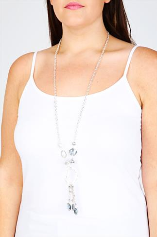 Silver Glass Bead Pendant Necklace