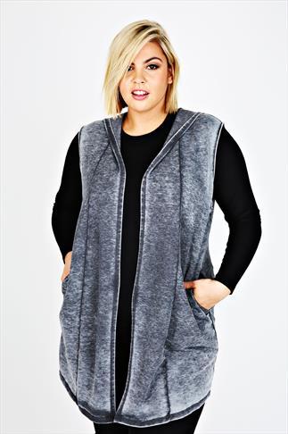 Dark Grey Acid Wash Sleeveless Longline Hooded Jacket