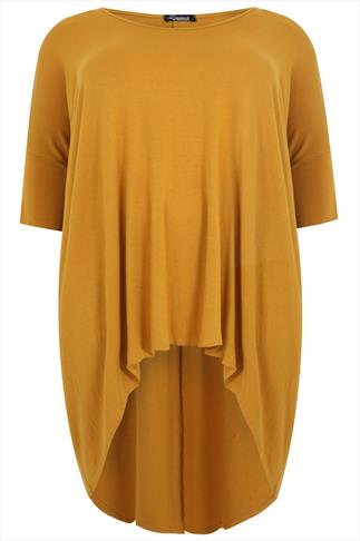 Mustard Oversized Top With Extreme Dipped Hem