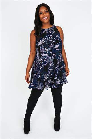Butterfly Print Chiffon Sleeveless Swing Tunic Dress With Embellishment