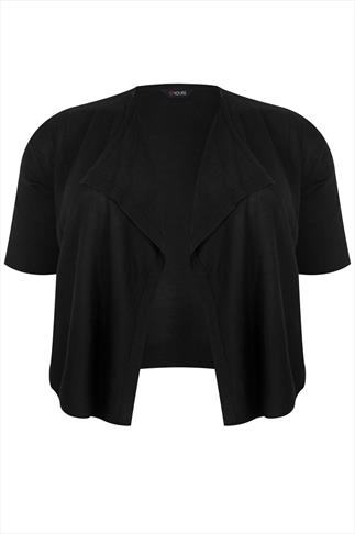 Black Drape Front Knitted Shrug