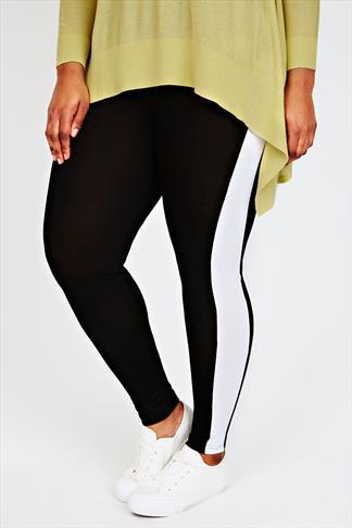 Black Leggings With Contrasting White Side Stripe