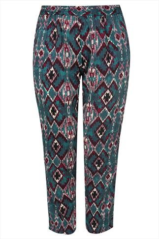 Green & Red Aztec Print Harem Trousers