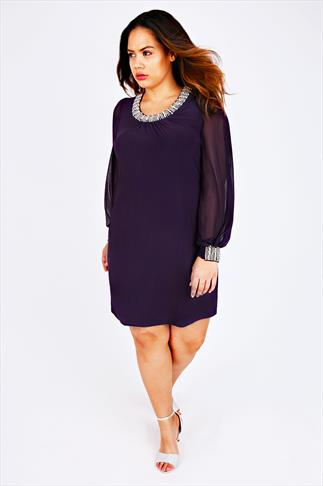 Purple Chiffon Sleeved Dress With Silver Bead Embellishment