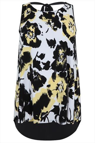 Lemon & Black Abstract Floral Print Dipped Hem Longline Top